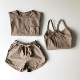 3セット夏の新しい子供の男性と女性の赤ちゃんラウンドネック半袖Tシャツ+ショートパンツ+キャミソール