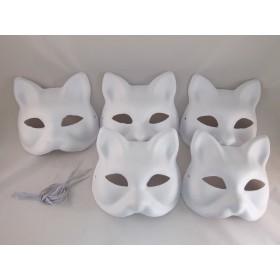 白 きつね キツネ 狐 お面 お得な5枚セット ホワイトマスク/動物 アニマルマスク ハロウィン 仮装 コスプレ道具 DIY 手作り 覆面 マスク 仮面 夏祭