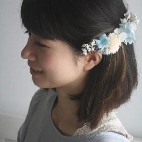 【お花のバレッタ】花集め・・ブルーグレー2