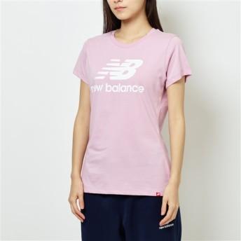 (NB公式)【ログイン購入で最大8%ポイント還元】 ウイメンズ エッセンシャルスタックドロゴTシャツ (ピンク) ライフスタイル ウェア / トップス ニューバランス newbalance
