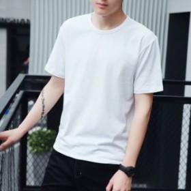 Tシャツ メンズ 半袖 トップス 無地 カットソー カジュアル おしゃれ シンプル 大きいサイズ 2018夏新作