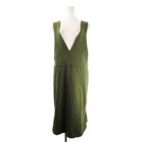 【中古】ホコモモラ JOCOMOMOLA ジャンパースカート ワンピース ノースリーブ ひざ丈 42 緑 カーキ /CK3 レディース