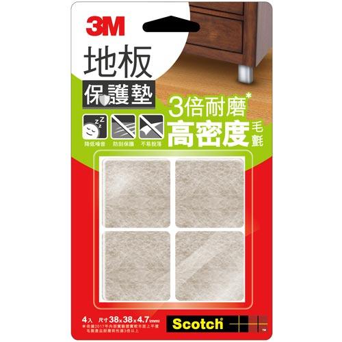 3M 米色方形地板保護墊 4入