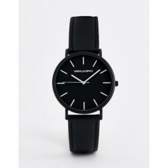 エイソス メンズ 腕時計 アクセサリー ASOS DESIGN leather watch in monochrome Black