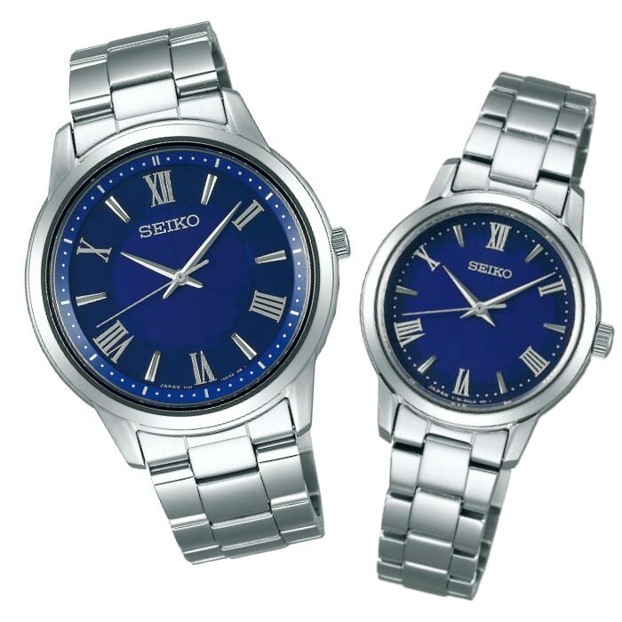 Seiko 精工錶 V131-0AG0B(SBPL009J)+V131-0AF0B(STPX049J) SPIRIT 經典太陽能對錶-藍 39+28mm
