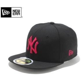 【メーカー取次】NEW ERA ニューエラ Kid's キッズ用 59FIFTY MLB ニューヨーク ヤンキース ブラックXストロベリー 11310407 キャップ 子供用 帽子 ブランド