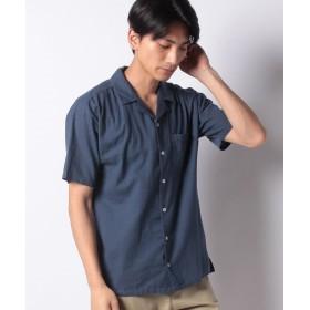 【40%OFF】 メラン クルージュ リネンライクオープンカラーシャツ メンズ ネイビー M 【Melan Cleuge】 【セール開催中】