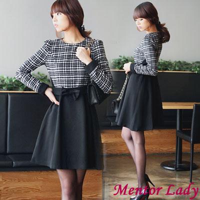 【Mentor Lady】蘇格蘭格紋蝴蝶結毛料洋裝(黑色)