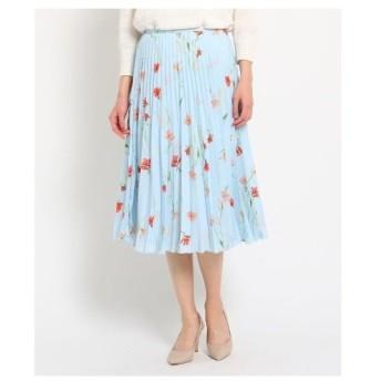 SunaUna(スーナウーナ)【洗える】サテン ワイルドフラワープリーツスカート