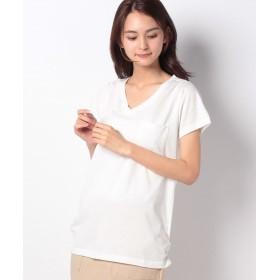 【50%OFF】 ジーラ 裾ギャザー美ラインVネックTシャツ レディース オフホワイト LL 【GeeRa】 【タイムセール開催中】