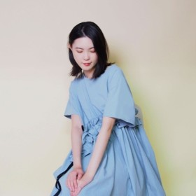 【再販】綿100% アシメギャザーフリルワンピース18184(ブルー)