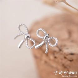 【Sayaka紗彌佳】編織蝴蝶結簡約造型耳環