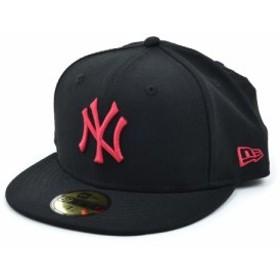 ニューエラ(NEW ERA)59FIFTY MLB ニューヨーク・ヤンキース ブラック × ストロベリー 11308565 カジュアル小物 帽子 キャップ (Men…