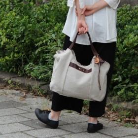 tanton-linen:ダークブラウン(リネン帆布×栃木レザートートバッグ)