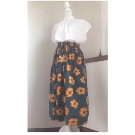 送料無料 大人かわいい シーチング水彩花柄 スカート