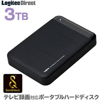 ロジテック SeeQVault対応 外付けHDD ポータブルハードディスク 3TB テレビ録画 テレビレコーダー シーキューボルト 2.5インチ USB3.1(Gen1) / USB3.0 【LHD-PBM30U3QW】