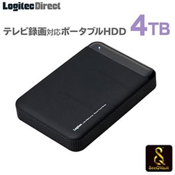ロジテック SeeQVault対応 外付けHDD ポータブルハードディスク 4TB テレビ録画 テレビレコーダー シーキューボルト 2.5インチ USB3.1(Gen1) / USB3.0 【LHD-PBM40U3QW】