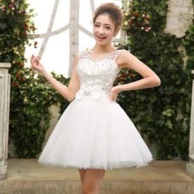 ドレス 結婚式 お呼ばれ ミモレ丈 花嫁 20代 ウエディングドレス ミニドレス カラードレス パーティードレス 二次会