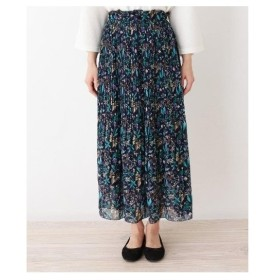 3can4on(Ladies)(サンカンシオン(レディース))◆【洗える】レトロフラワー プリーツロングスカート