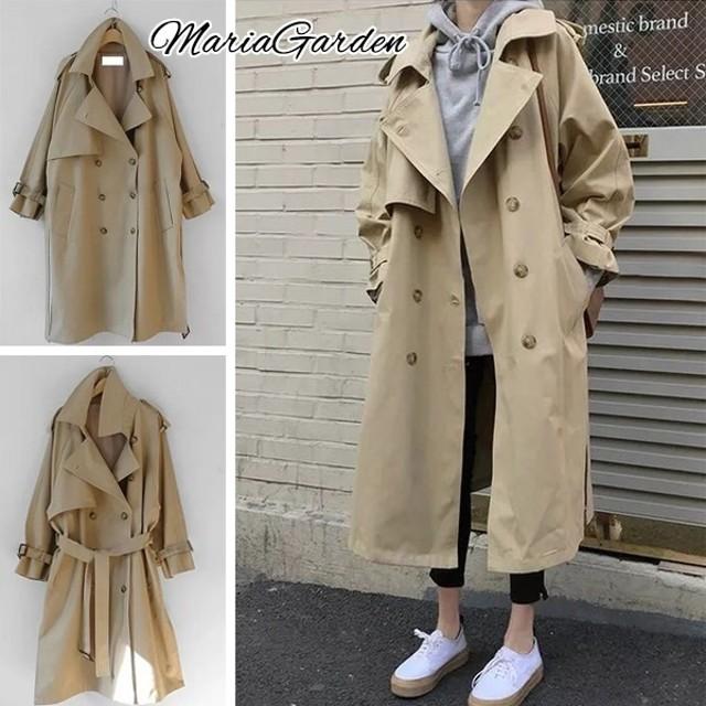 レディース トレンチコート アウター コート ロングコート シルエット ベルト付き スプリングコート 長袖 体型カバー ゆったり 4サイズ S M L XL tp590