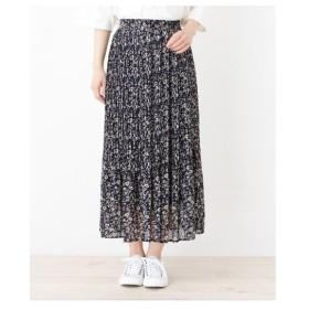 3can4on(Ladies)(サンカンシオン(レディース))【洗える】消しプリーツ小花柄ロングスカート