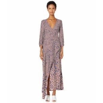 イエガルズロール レディース ワンピース トップス Falling Leaf Printed Twill V-Neck Dress with Drape Bordeaux Multi