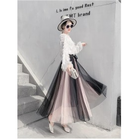 [55555SHOP] 【 高レビュー チュールスカート】 韓国ファッション ロングスカート 極上プリーツ マキシ丈スカート 半身スカート プリーツスカート 綺麗 ロングスカート