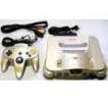 【送料無料】【中古】N64 任天堂64 NINTENDO64 本体 ゴールドバージョン (コントローラー、ケーブル付き)