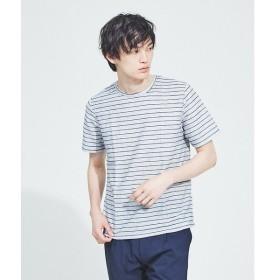 ABAHOUSE / アバハウス 【WEB別注】麻混メランジリップルボーダー半袖Tシャツ