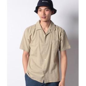 【50%OFF】 メラン クルージュ リネンライクオープンカラーシャツ メンズ ベージュ M 【Melan Cleuge】 【タイムセール開催中】