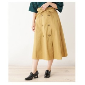 pink adobe(ピンクアドベ)ポケット付き トレンチ風 ツイルスカート