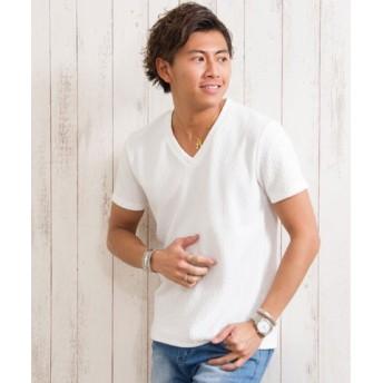 (SILVER BULLET/シルバーバレット)CavariA【キャバリア】ジャガードストライプVネック半袖Tシャツ/メンズ ホワイト