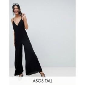 エイソス レディース ワンピース トップス ASOS DESIGN Tall Deep V Strap Back Jumpsuit Black