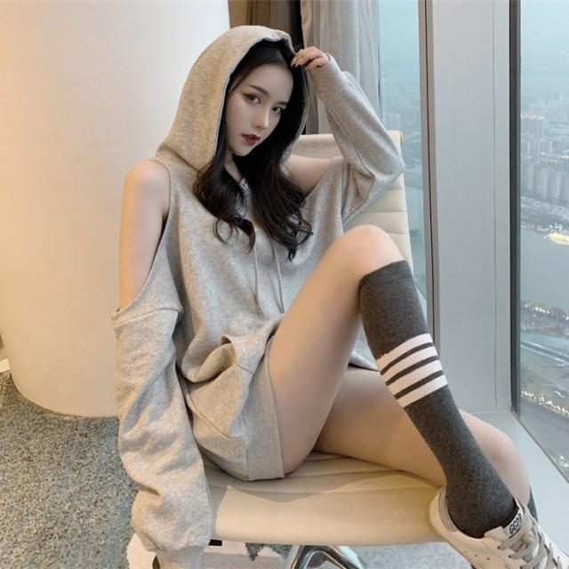 [55555SHOP] 韓国ファッション ◆ins話題 ♪ レディース レイジー風 フードつき 長袖 カシュクール パーカー 学院風 原宿風 ルーズ カジュアル トップ