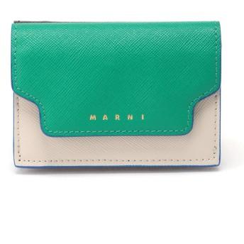 MARNI TRUNKマルチカラーミニウォレット 財布,シーグリーン