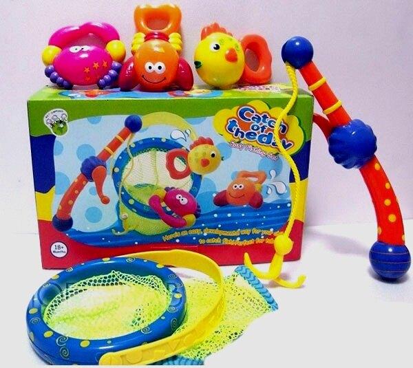 【兒童玩具】洗澡玩具 繽紛釣魚組+網桶