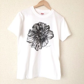 【Tシャツ】線画の花 (ホワイトS)