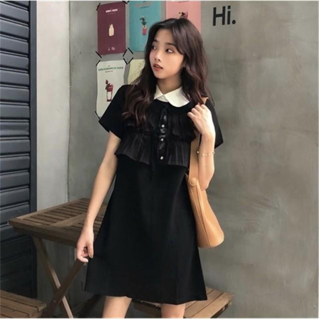 5287a1702ed [55555SHOP] 超人気 春夏新作 韓国 ファッション上品&ガーリー シフォンワンピース/