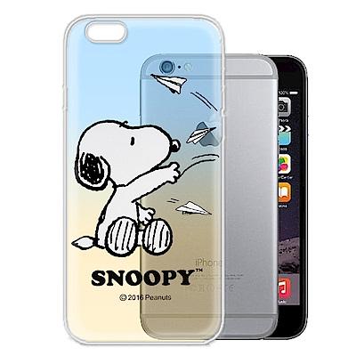 史努比 正版授權 iPhone 6s plus 5.5吋 漸層彩繪軟式手機殼(紙飛機)