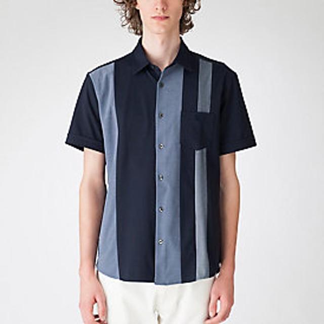 【Crestbridge 】パネルストライプハーフスリーブシャツ