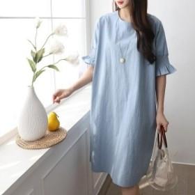 Iラインワンピス 無地ワンピ 膝丈 ナチュラル 大人カジュアル 韓国ファッション
