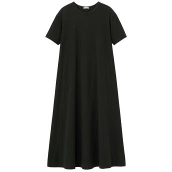 (GU)Aラインワンピース(半袖)B BLACK L