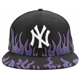 キャップ - stylise ニューエラ キャップ ◆ NEW ERA 59FIFTY ファイアーパターン ニューヨーク・ヤンキース ブラック × ホワイト11557558 メンズ 帽子 ロゴ プリント[FS]