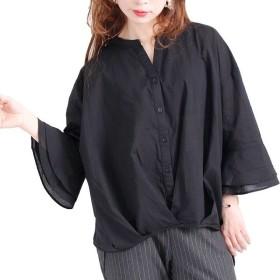 [マルイ] 大きいサイズ レディース 裾 タック コットン シャツ ブラウス 七分袖/ゴールドジャパン(大きいサイズ)(GOLDJAPAN)