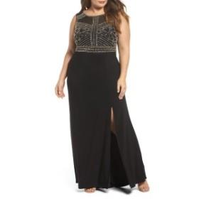 モーガン レディース ワンピース トップス Morgan & Co. Beaded Sheer Back Gown (Plus Size) Black