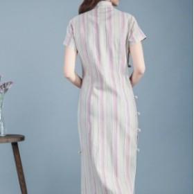 著やせ チャイナドレスの改良wj691 Aライン ワンピース   長いデザイン レディース  腰 民族風 春夏 修身