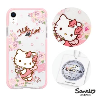 三麗鷗 Kitty iPhone XR 6.1吋施華彩鑽四角防撞手機殼-天使凱蒂