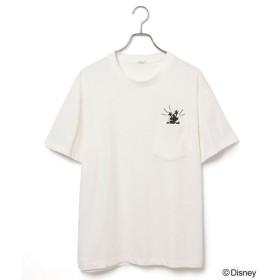ジュンレッド/【Mickey Mouse/ミッキーマウス】シルエットミッキーポケットTシャツ/ホワイト/LL