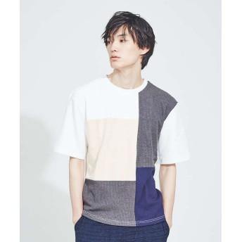 アバハウス 異素材 切替え 半袖 Tシャツ メンズ ホワイト 48 【ABAHOUSE】