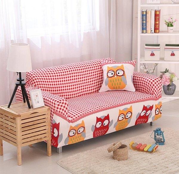 沙發套【RS Home】2人座加送抱枕套沙發罩沙發套彈性沙發套沙發墊沙發布床包床墊保潔墊沙發彈簧床折疊沙發 [貓頭鷹]